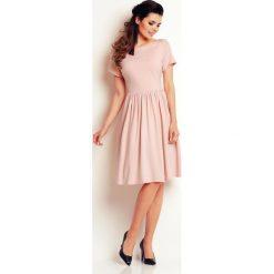 Sukienki: Jasno Różowa Lekka Sukienka Midi z Marszczonym Dołem