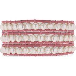 Bransoletki damskie: Skórzana bransoletka w kolorze jasnoróżowym z perłami słodkowodnymi
