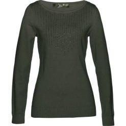 Sweter bonprix nocny oliwkowy. Zielone swetry klasyczne damskie marki bonprix, w kropki, z kopertowym dekoltem, kopertowe. Za 74,99 zł.