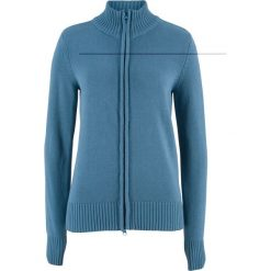 Sweter rozpinany bonprix niebieski dżins. Niebieskie golfy damskie bonprix, z bawełny. Za 74,99 zł.