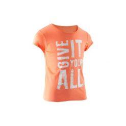 Koszulka z krótkim rękawem. Brązowe bluzki dziewczęce z krótkim rękawem DOMYOS. W wyprzedaży za 6,99 zł.