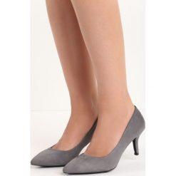 Ciemnoszare Czółenka Hindsight. Czarne buty ślubne damskie marki Kazar, z nubiku, na wysokim obcasie, na szpilce. Za 69,99 zł.