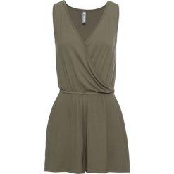 Kombinezon shirtowy bonprix ciemnooliwkowy. Zielone kombinezony damskie bonprix, z dekoltem w serek, na ramiączkach. Za 54,99 zł.