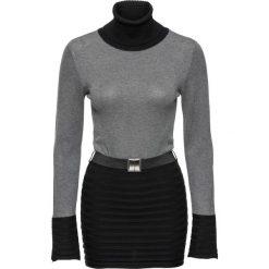 Sweter bonprix czarno-szary. Czarne golfy damskie bonprix, w paski. Za 99,99 zł.