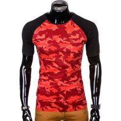 T-SHIRT MĘSKI Z NADRUKIEM S1009 - CZERWONYMORO. Zielone t-shirty męskie z nadrukiem marki Ombre Clothing, na zimę, m, z bawełny, z kapturem. Za 35,00 zł.