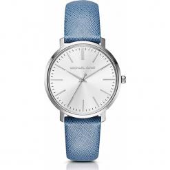 """Zegarek kwarcowy """"Jaryn"""" w kolorze niebiesko-srebrno-białym. Niebieskie, analogowe zegarki damskie marki Michael Kors, ze stali. W wyprzedaży za 522,95 zł."""
