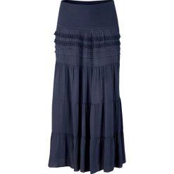 Długa spódnica bonprix ciemnoniebieski. Niebieskie długie spódnice bonprix, na lato, w paski, z koronki. Za 99,99 zł.