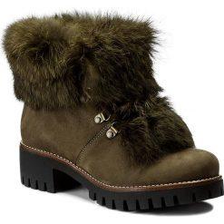 Botki EVA MINGE - Raquel  2P 17BD1372205EF  415. Zielone buty zimowe damskie Eva Minge, z materiału, na obcasie. W wyprzedaży za 309,00 zł.