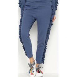 Spodnie dresowe damskie: Niebieskie Spodnie Dresowe Loosen