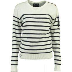 """Sweter """"Figue"""" w kolorze kremowo-granatowym. Białe swetry klasyczne damskie Geographical Norway Women & Kids, l, z bawełny. W wyprzedaży za 108,95 zł."""