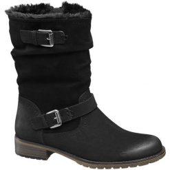 Botki damskie Graceland czarne. Czarne botki damskie na obcasie Graceland, na zimę, z materiału, rockowe, z paskami. Za 139,90 zł.