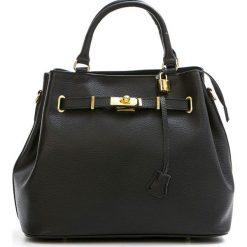 Torebki klasyczne damskie: Skórzana torebka w kolorze czarnym – 35 x 28 x 17 cm