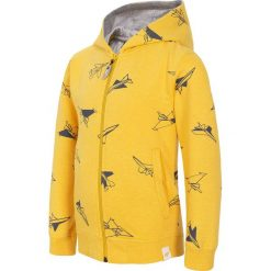 Bluza dla małych chłopców JBLM101 - ŻÓŁTY. Żółte bluzy chłopięce rozpinane marki 4F JUNIOR, z bawełny, z kapturem. Za 59,99 zł.