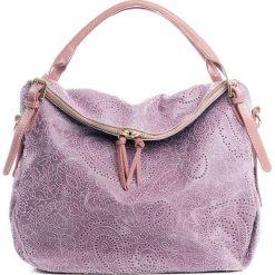 Torebki klasyczne damskie: Skórzana torebka w kolorze jasnoróżowym – 40 x 36 x 16 cm