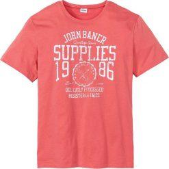 T-shirty męskie: T-shirt z nadrukiem Regular Fit bonprix koralowy