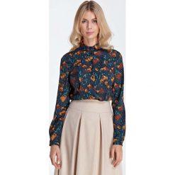 Bluzki damskie: Elegancka Bluzka Koszulowa z Okrągłym Kołnierzykiem - Wzór Brąz