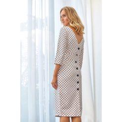 Sukienka ołówkowa w kratkę s118. Szare sukienki balowe marki Style, s, w kratkę, dekolt w kształcie v, ołówkowe. Za 179,00 zł.
