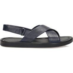 Sandały męskie skórzane: Granatowe sandały męskie