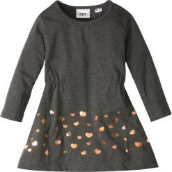 Sukienki dziewczęce: Sukienka dżersejowa bonprix antracytowy melanż – brązowy z nadrukiem