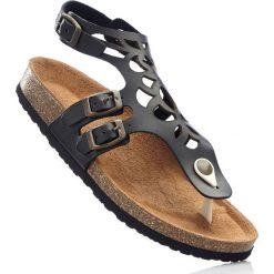 Wygodne sandały skórzane bonprix czarny. Czarne rzymianki damskie bonprix, w paski. Za 129,99 zł.