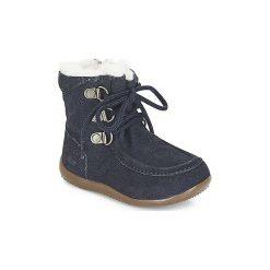Kozaki Dziecko Kickers  BAMARA. Niebieskie buty zimowe chłopięce marki Kickers, z kauczuku, na sznurówki. Za 329,00 zł.
