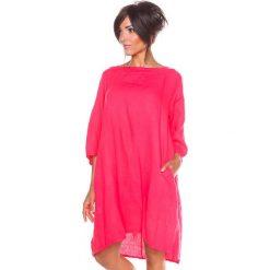 "Sukienki hiszpanki: Lniana sukienka ""Suzon"" w kolorze fuksji"