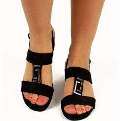 Rzymianki damskie: Czarne sandały damskie na słupku Wishot