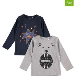 Koszulki (2 szt.) w kolorze granatowym i szarym. Niebieskie t-shirty chłopięce z długim rękawem Name it Kids, z bawełny. W wyprzedaży za 42,95 zł.