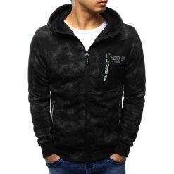 Bluzy męskie: Bluza męska rozpinana czarna z kapturem (bx3440)