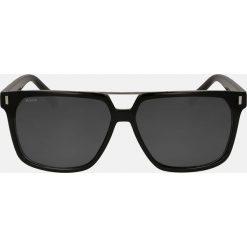 Czarne okulary przeciwsłoneczne. Czarne okulary przeciwsłoneczne męskie aviatory Kazar, z lakierowanej skóry. Za 349,00 zł.