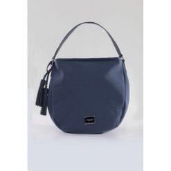 Shopper bag damskie: Prążkowana torba na pasku