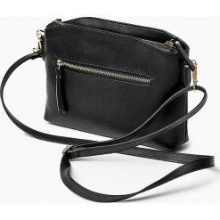 Skórzana Włoska czarna torebka listonoszka MELANIA. Czarne torby na ramię męskie marki Vera Pelle, w paski, ze skóry, małe. Za 179,00 zł.