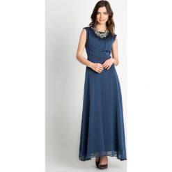 Długie sukienki: Granatowa elegancka sukienka maxi  QUIOSQUE