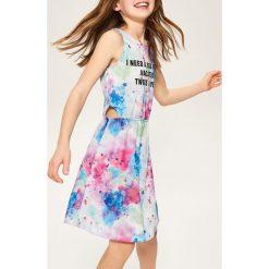 Sukienki dziewczęce z falbanami: Sukienka z napisem – Biały