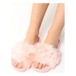 Chodaki damskie: Różowe Klapki Fluffy Bunny