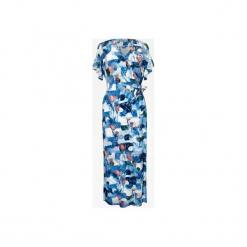 DŁUGA SUKIENKA W KWIATY Z FALBANKĄ NA RĘKAWACH. Szare długie sukienki marki Bien fashion, xs, w kwiaty, wizytowe, z kopertowym dekoltem, z długim rękawem, dopasowane. Za 199,00 zł.