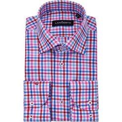 Koszula w Kratę Raphael. Niebieskie koszule męskie na spinki marki LANCERTO, m, w kratkę, z bawełny, z kontrastowym kołnierzykiem. Za 299,90 zł.
