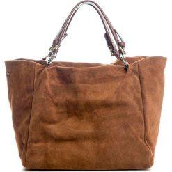 Torebki i plecaki damskie: Skórzany shopper bag w kolorze brązowym – 42 x 40 x 20 cm