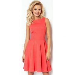 98-4 sukienka koło - dekolt łódka - gruba lacosta koralowa. Pomarańczowe sukienki na komunię marki numoco, l, z dekoltem w łódkę, rozkloszowane. Za 89,00 zł.