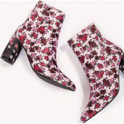 Botki damskie lity: NA-KD Shoes Botki we wzory na średnim obcasie - Pink