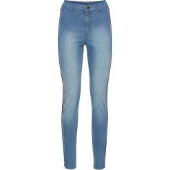 """Dżinsy SKINNY z wysoką talią i kontrastowymi paskami bonprix niebieski """"bleached"""". Niebieskie jeansy damskie skinny bonprix, w paski, z jeansu. Za 74,99 zł."""