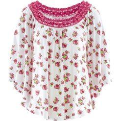 Tunika z kolekcji Maite Kelly, krótki rękaw bonprix biały w kwiaty. Białe tuniki damskie w kwiaty bonprix, z krótkim rękawem. Za 59,99 zł.