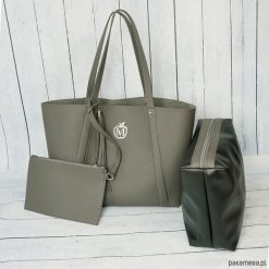 Kuferki damskie: Duża torba worek MANZANA xxl 3w1 szara