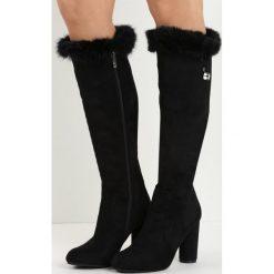 Czarne Kozaki Sentence. Czarne buty zimowe damskie marki Born2be, na wysokim obcasie, na słupku. Za 139,99 zł.