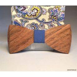 Poszetki męskie: Drewniana muszka z poszetką BLUE BOY