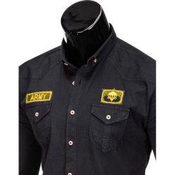 KOSZULA MĘSKA Z DŁUGIM RĘKAWEM K361 - CZARNA. Brązowe koszule męskie na spinki marki Ombre Clothing, m, z aplikacjami, z kontrastowym kołnierzykiem, z długim rękawem. Za 79,00 zł.