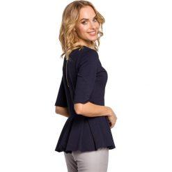 GABRIELLE Bluzka z kontrafałdą - granatowa. Niebieskie bluzki z odkrytymi ramionami Moe, z dresówki. Za 99,00 zł.