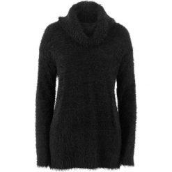 Swetry oversize damskie: Sweter oversize z przędzy z długim włosem bonprix czarny