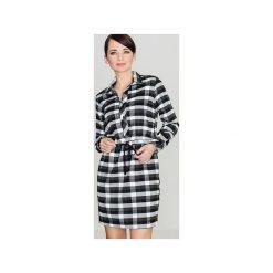 Sukienka K256 Czarny-Biały. Czarne długie sukienki marki Lenitif, m, w kratkę, z tkaniny, klasyczne, z klasycznym kołnierzykiem, z długim rękawem, dopasowane. Za 139,00 zł.