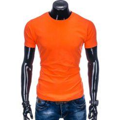 T-shirty męskie: T-SHIRT MĘSKI BEZ NADRUKU S884 - POMARAŃCZOWY